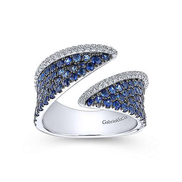 Gabriel 14K White Gold Sapphire and Diamond Pav Open Ring Image 3 Rolland's Jewelers Libertyville, IL