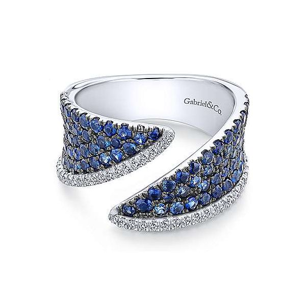 Gabriel 14K White Gold Sapphire and Diamond Pav Open Ring Rolland's Jewelers Libertyville, IL
