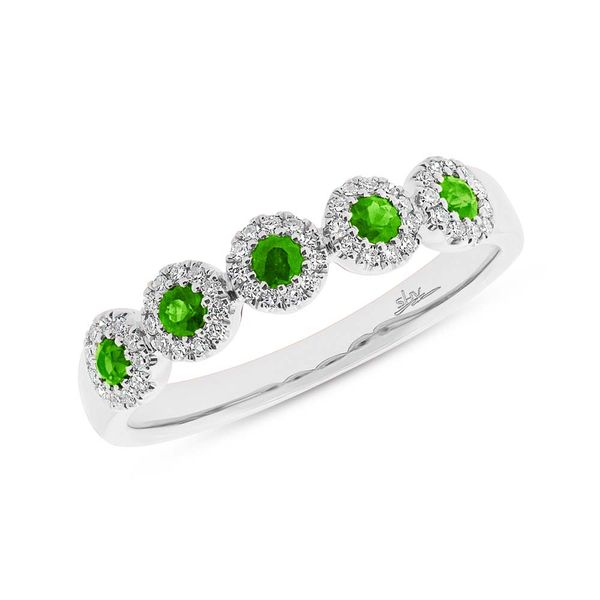 Shy Creation Diamond and Green Garnet 5 Station Ring Rolland's Jewelers Libertyville, IL