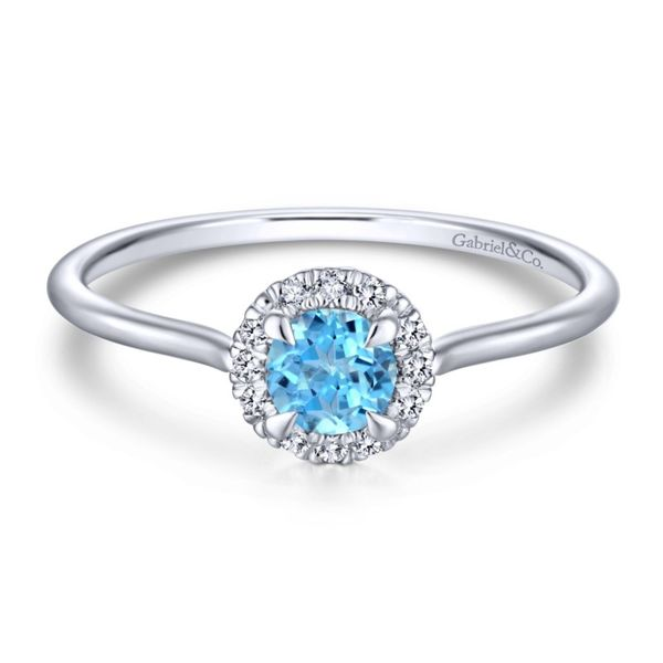 Gabriel Round Blue Topaz and Diamond Halo Ring Rolland's Jewelers Libertyville, IL