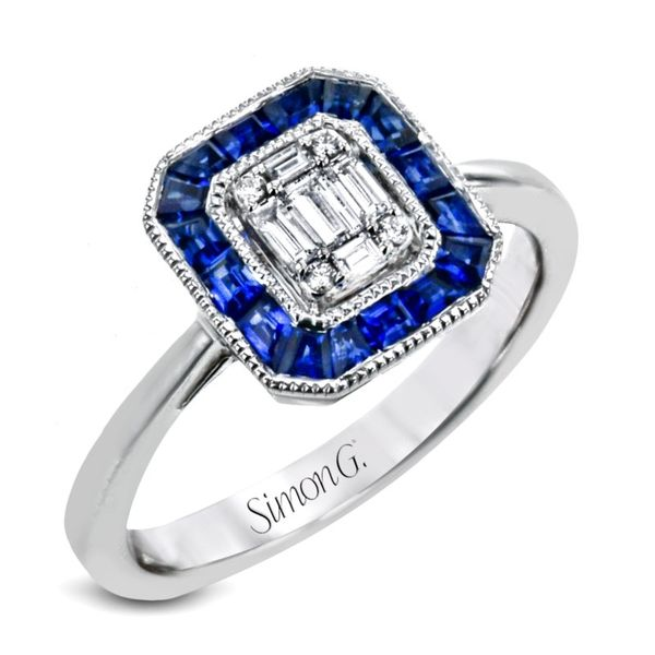 Simon G. Diamond & Blue Sapphire Mosaic Ring Rolland's Jewelers Libertyville, IL