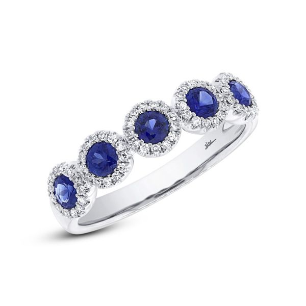 Shy Creation Diamond & Blue Sapphire Cluster Band Rolland's Jewelers Libertyville, IL