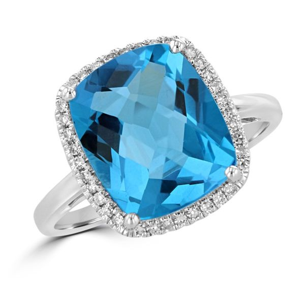 Rolland's Design Blue Topaz & Diamond Ring Rolland's Jewelers Libertyville, IL