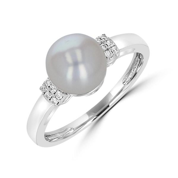 14K White Gold Pearl Rings with Diamonds Rolland's Jewelers Libertyville, IL