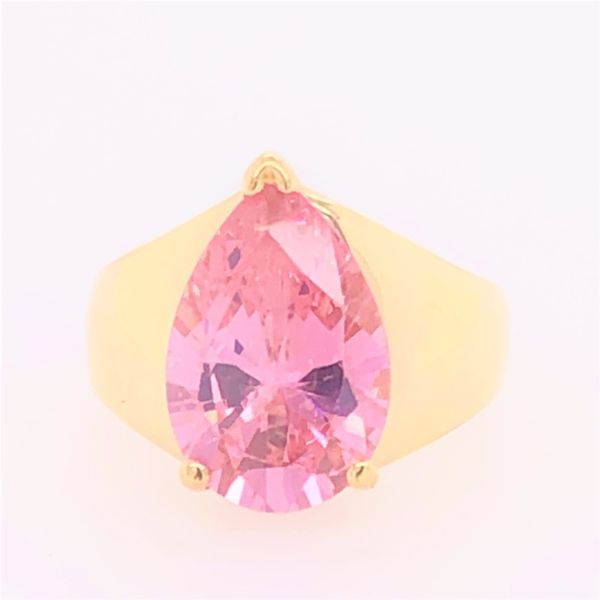 Estate 14K Yellow Gold Pink CZ Pear Shape Ring Image 2 Rolland's Jewelers Libertyville, IL