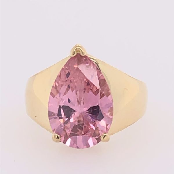 Estate 14K Yellow Gold Pink CZ Pear Shape Ring Image 3 Rolland's Jewelers Libertyville, IL