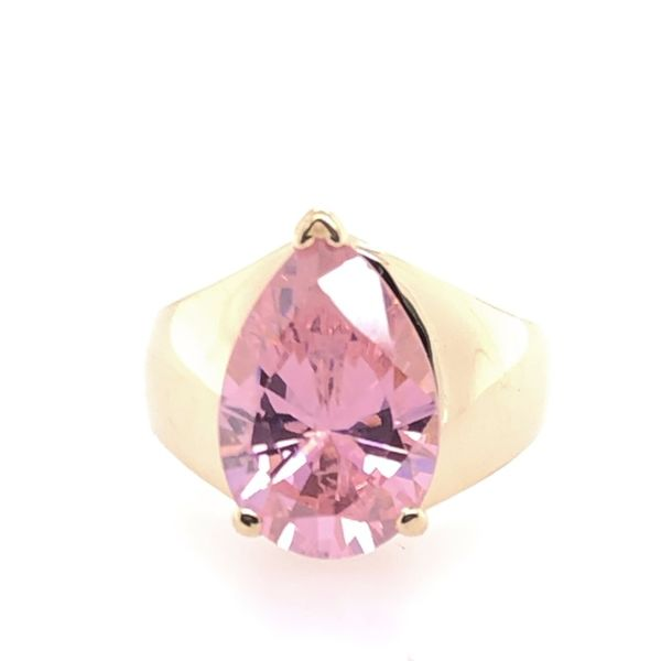 Estate 14K Yellow Gold Pink CZ Pear Shape Ring Rolland's Jewelers Libertyville, IL