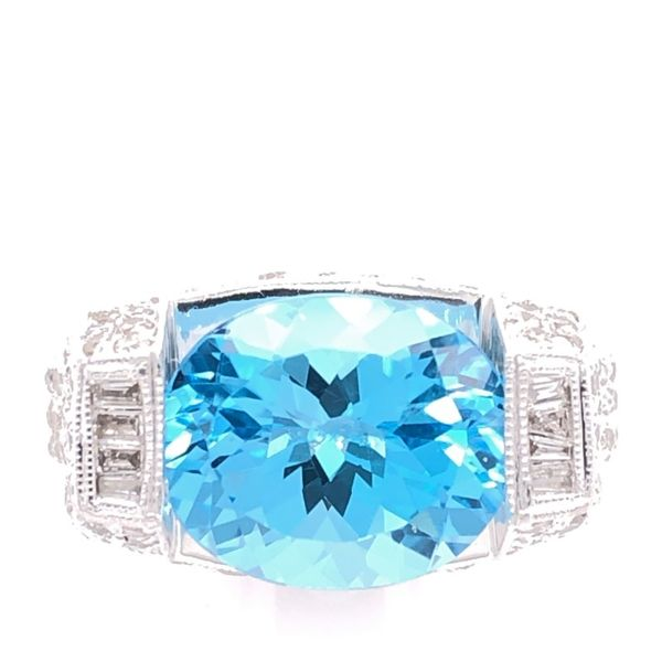Estate 18K White Gold Blue Topaz & Diamond Ring Rolland's Jewelers Libertyville, IL
