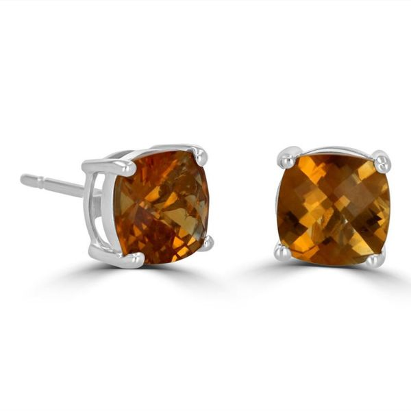 14K White Gold Cushion Citrine Earrings Rolland's Jewelers Libertyville, IL