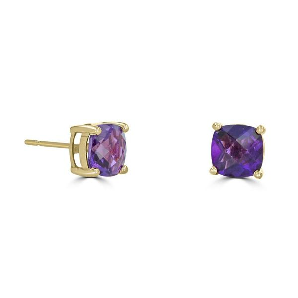 14K Yellow Gold Amethyst Earrings Rolland's Jewelers Libertyville, IL