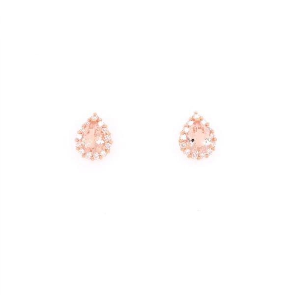 Rolland's Design Morganite & Diamond Pear Shape Earrings Rolland's Jewelers Libertyville, IL