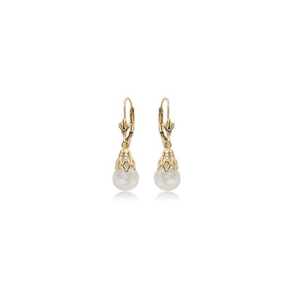 Carla 14K Yellow Gold Enclosed Opal Dangle Earrings Rolland's Jewelers Libertyville, IL