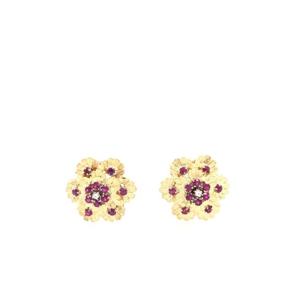 Estate 18K Yellow Gold Ruby & Diamond Clip on Earrings Rolland's Jewelers Libertyville, IL