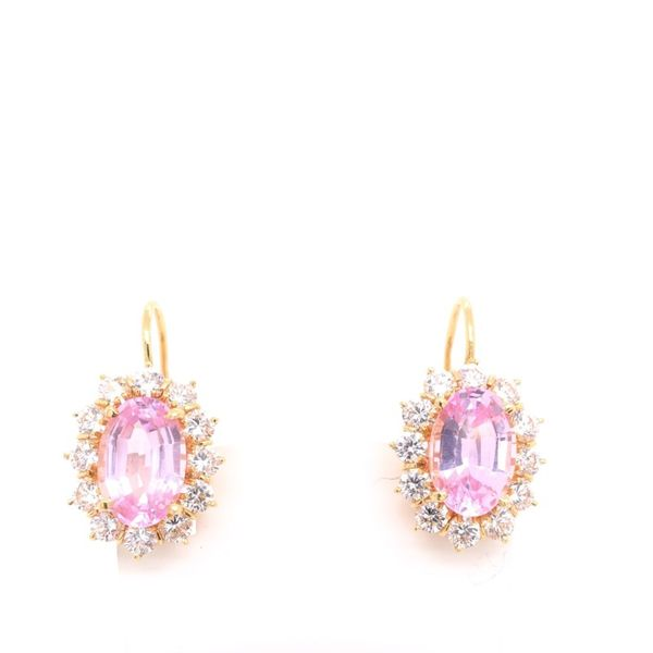 Estate 18K Yellow Gold Pink & White CZ Earrings Rolland's Jewelers Libertyville, IL