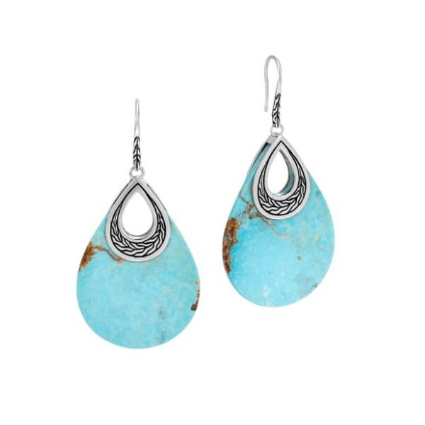 John Hardy Teardrop Earrings With Turquoise Rolland's Jewelers Libertyville, IL