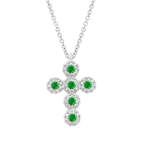 Shy Creation Diamond & Green Garnet Cluster Cross Necklace Rolland's Jewelers Libertyville, IL