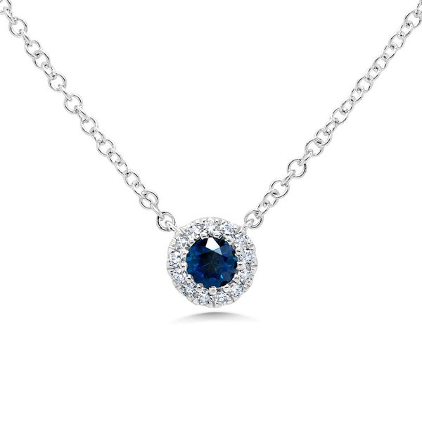 Diamond and Blue Sapphire Cluster Necklace Rolland's Jewelers Libertyville, IL