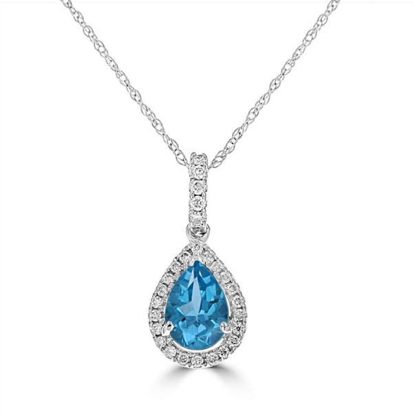 14K White Gold Pear Blue Topaz with Diamonds Pendant Rolland's Jewelers Libertyville, IL