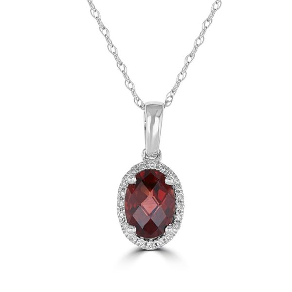 14K White Gold Garnet Pendent with a Diamond Halo Rolland's Jewelers Libertyville, IL