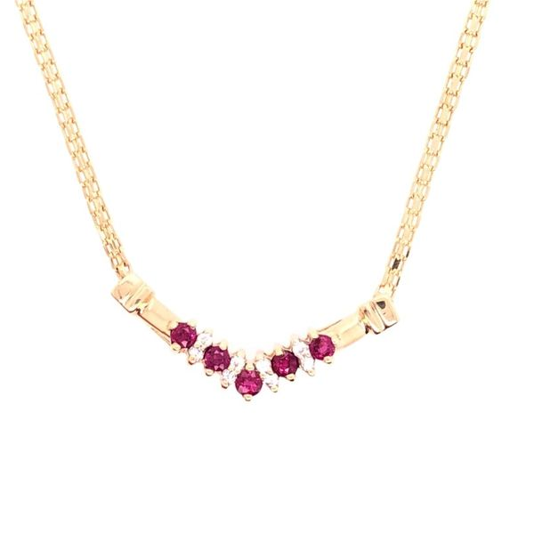 Estate 14k Yellow Gold Ruby and Diamond Necklace Rolland's Jewelers Libertyville, IL