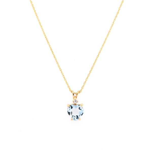 Estate 14K Gold Aquamarine Heart & Diamond Pendant Rolland's Jewelers Libertyville, IL