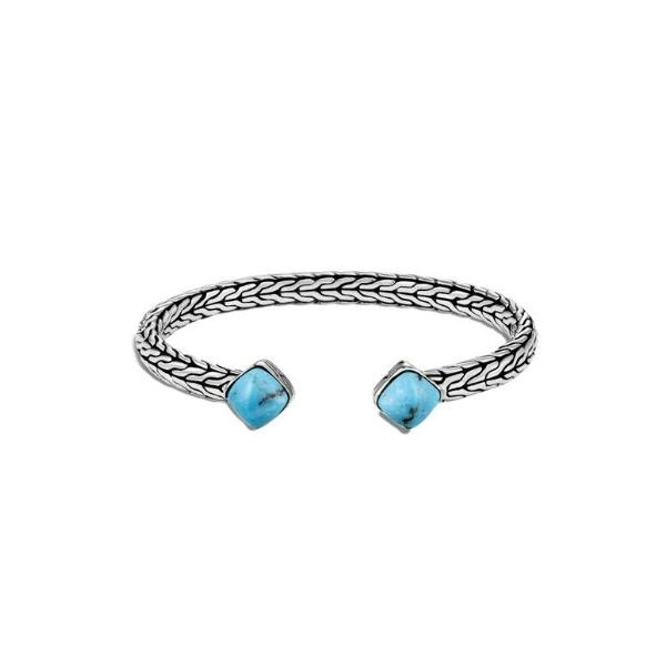 John Hardy Classic Chain Flex Cuff in Silver with Turquoise Rolland's Jewelers Libertyville, IL