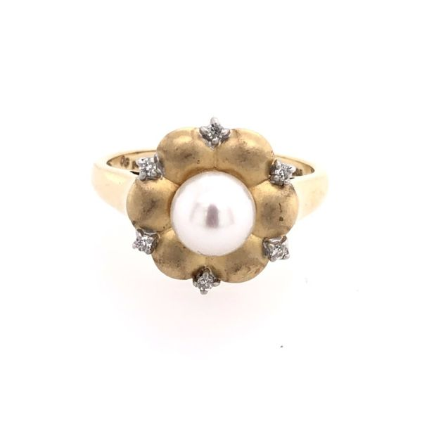 Estate 14K Yellow Gold Pearl & Diamond Ring Rolland's Jewelers Libertyville, IL