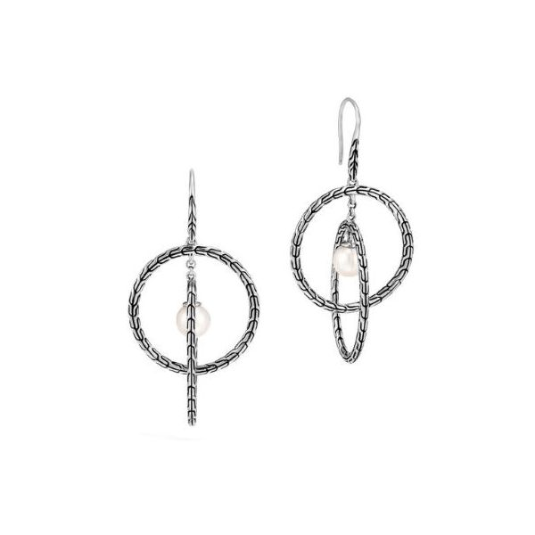 John Hardy Classic Chain Drop Earrings with Freshwater Pearl Rolland's Jewelers Libertyville, IL