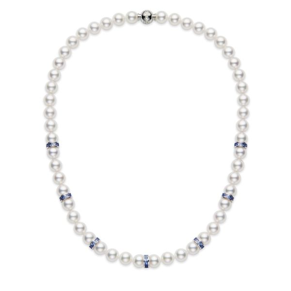 Mikimoto Pearl & Blue Sapphire Necklace Rolland's Jewelers Libertyville, IL