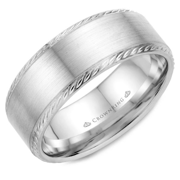 Crown Ring Satin Rope Men's Band Rolland's Jewelers Libertyville, IL