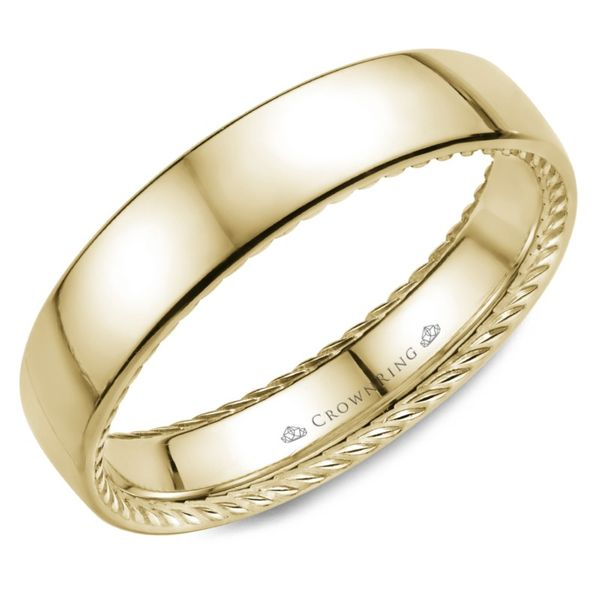 Crown Ring Polished Rope Men's Band Rolland's Jewelers Libertyville, IL