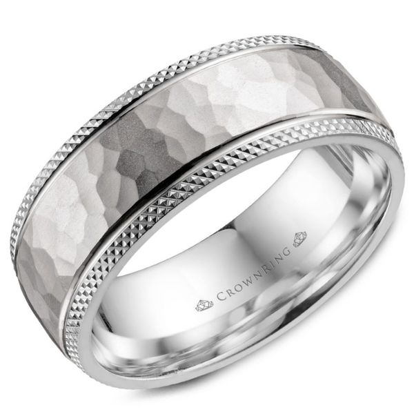 Crown Ring Hammered Milgrain Men's Band Rolland's Jewelers Libertyville, IL