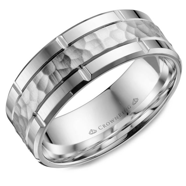 Crown Ring Hammered Men's Band Rolland's Jewelers Libertyville, IL