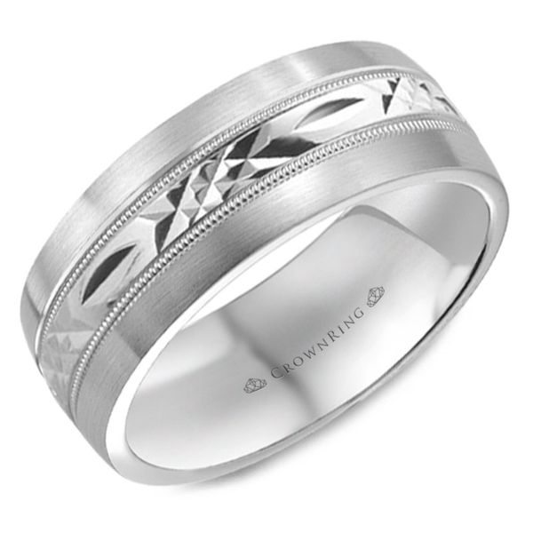 Crown Ring Polished Carved Men's Band Rolland's Jewelers Libertyville, IL