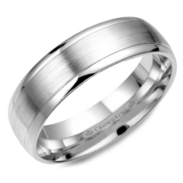 Crown Ring Satin Carved Men's Band Rolland's Jewelers Libertyville, IL