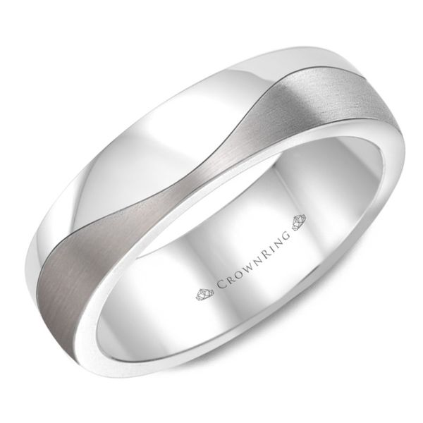 Crown Ring Frosted Men's Band Rolland's Jewelers Libertyville, IL
