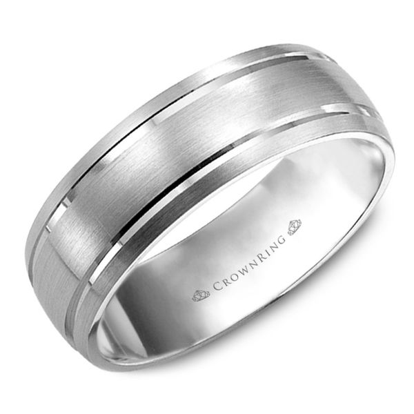 Crown Ring Satin Line Men's Band Rolland's Jewelers Libertyville, IL