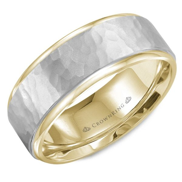 Crown Ring Two Tone Gold Hammered Men's Wedding Band Rolland's Jewelers Libertyville, IL