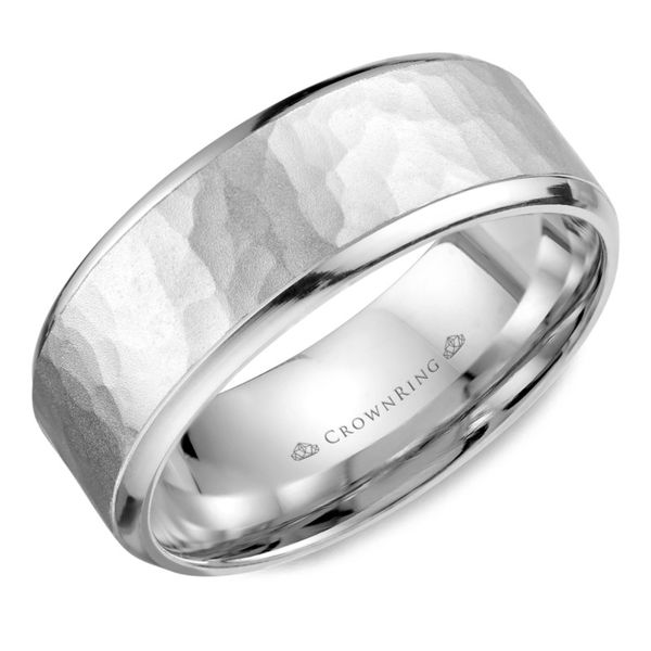 Crown Ring Soft Hammered Men's Band Rolland's Jewelers Libertyville, IL