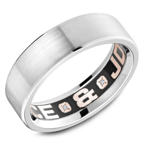 Carlex White Gold and Enamel Diamond Customizable Men's Wedding Band Rolland's Jewelers Libertyville, IL