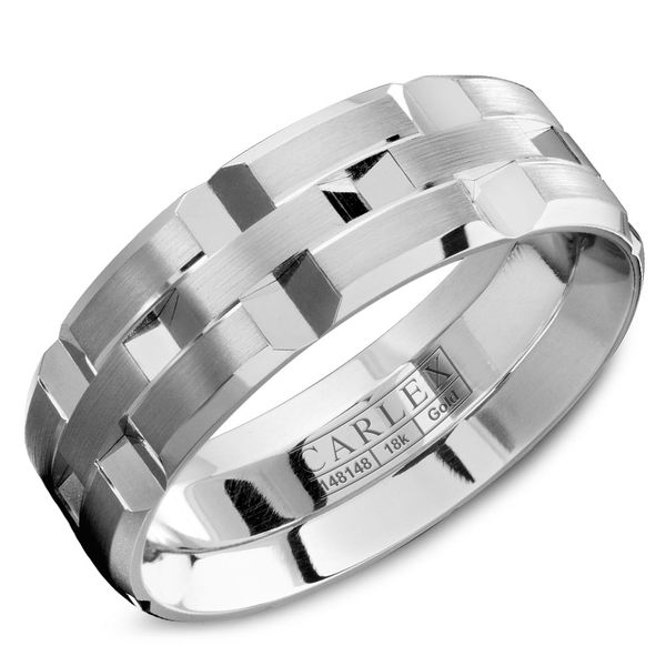 Carlex White Gold Men's Wedding Band Rolland's Jewelers Libertyville, IL