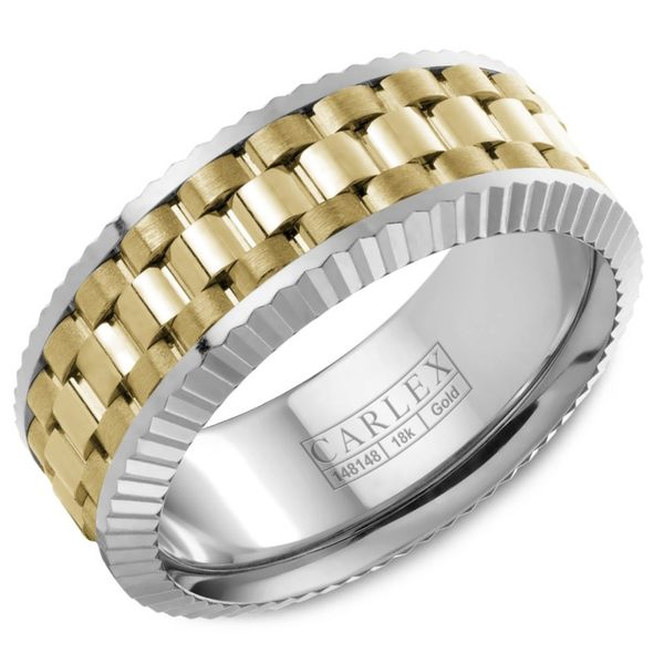 Carlex Two Tone Gold Men's Wedding Band Rolland's Jewelers Libertyville, IL