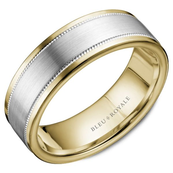 Bleu Royale Two Tone Gold Men's Band Rolland's Jewelers Libertyville, IL