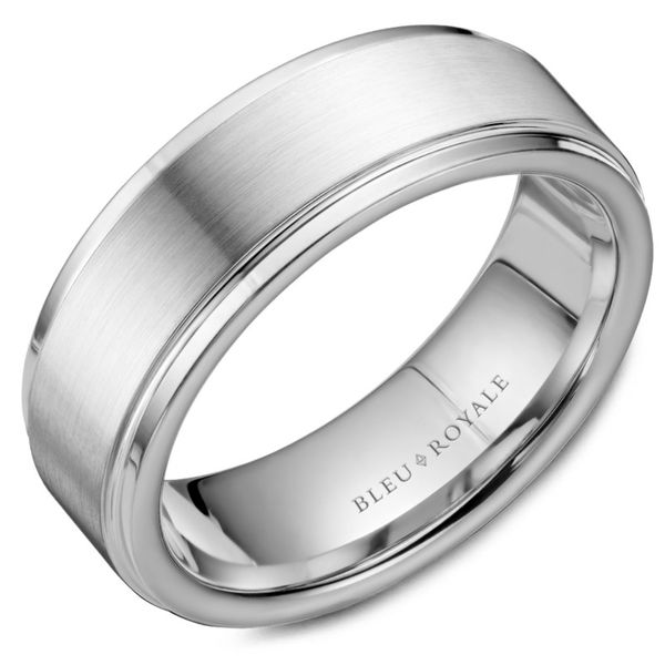 Bleu Royale Satin Men's Band Rolland's Jewelers Libertyville, IL