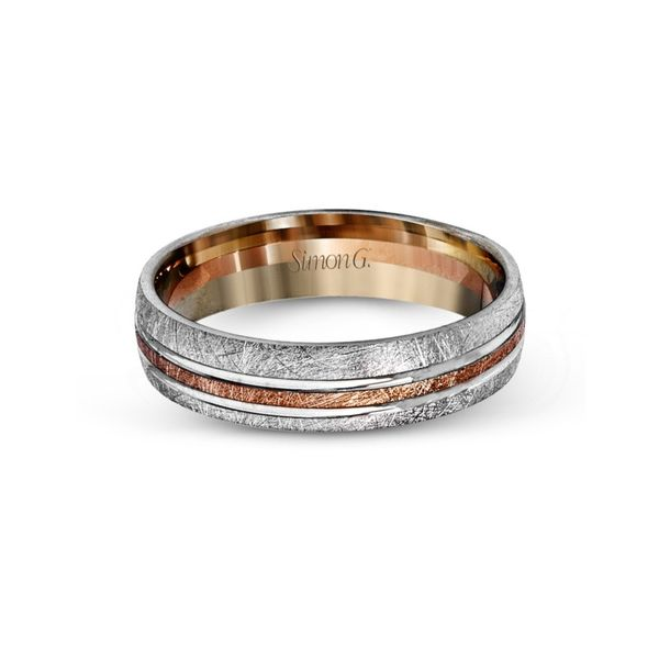 Simon G. Two Tone Gold Men's Wedding Band Image 2 Rolland's Jewelers Libertyville, IL