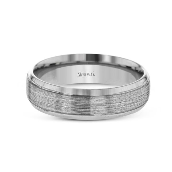Simon G. White Gold Men's Wedding Band Image 2 Rolland's Jewelers Libertyville, IL