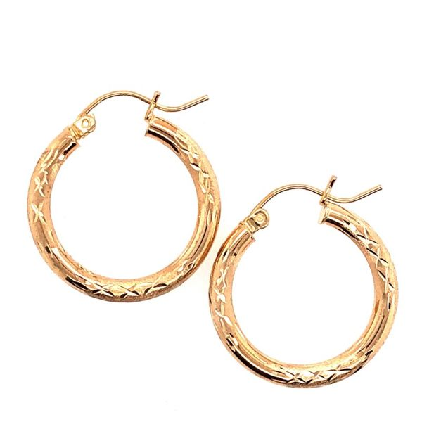Estate 14K Yellow Gold Diamond Cut Hoops Rolland's Jewelers Libertyville, IL