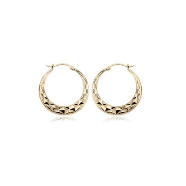 Carla 14K Yellow Gold Medium Diamond Cut Hoop Earrings Rolland's Jewelers Libertyville, IL