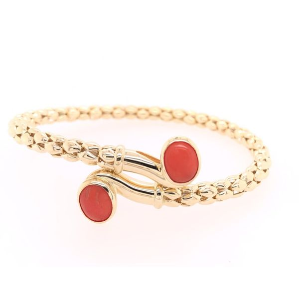 Estate 14K Yellow Gold Coral Bangle Rolland's Jewelers Libertyville, IL