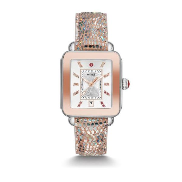 Michele Deco Sport Two Tone Pink Gold Tone Irridescent Lizard Watch Rolland's Jewelers Libertyville, IL